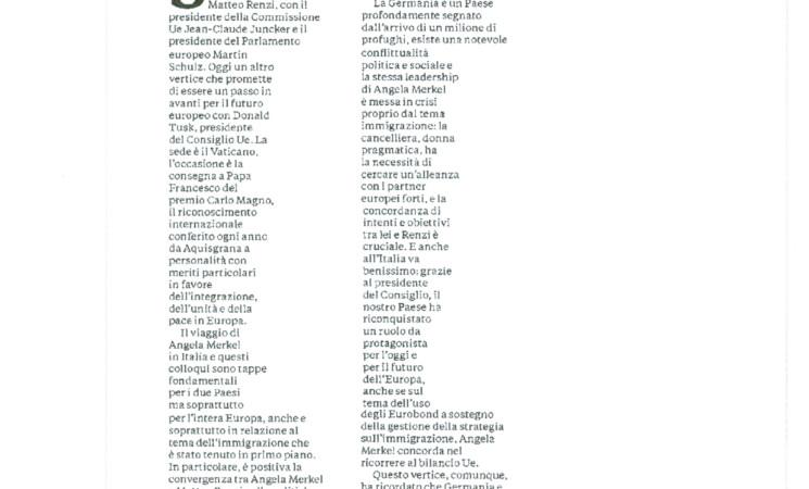 """Unità - L'articolo sull'incontro tra Matteo Renzi e Angela Merkel: """"Un patto per salvare il sogno europeo""""."""